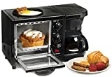 Elite Cuisine EBK-200B 3-in-1 Breakfast Station Toaster Oven with Timer, Griddle, Regular, Black