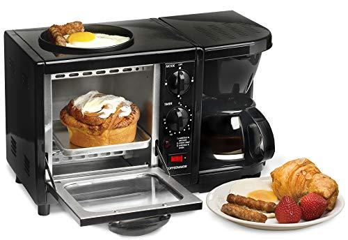 Elite Gourmet EBK-200B 3-in-1 Breakfast Station Toaster Oven, Regular, Black