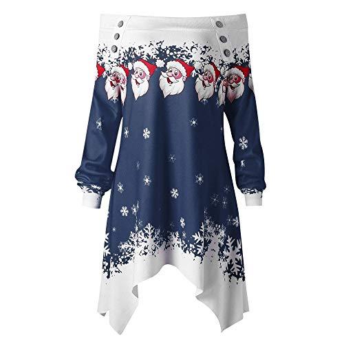 VEMOW Heißer Einzigartiges Design Mode Damen Frauen Frohe Weihnachten Schneeflocke Gedruckt Tops Cowl Neck Casual Sweatshirt Bluse(Y2-a-Blau, 40 DE/XL CN)