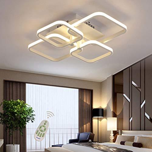 Lámpara de techo rectangular LED para comedor, comedor, salón, lámpara regulable con mando a distancia 3000 K - 6500 K, moderna, para el salón, el dormitorio, el baño, el pasillo, Blanco, L58cm