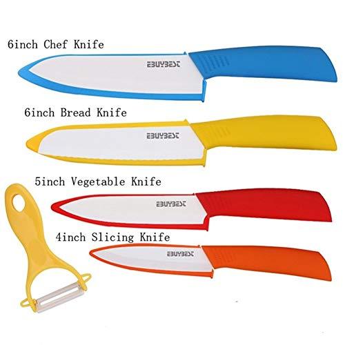 Cuchillos Cocina Cerámica Cerámica del cuchillo de serrado Cuchillo de pan + Peeler de la lámina blanca de óxido de zirconio cuchillos de cocina del cuchillo del cocinero utensilios de cocina
