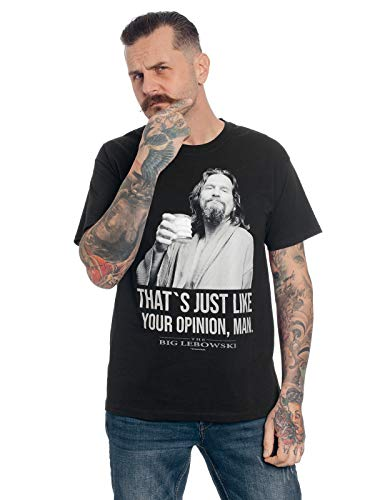 The Big Lebowski The Dude Hombre Camiseta Negro XL, 100% algodón, Regular