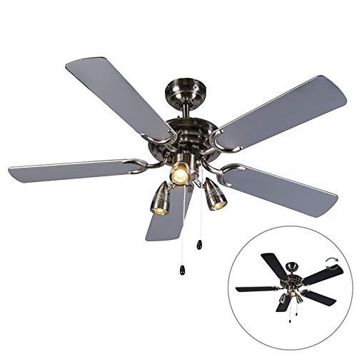 QAZQA - Modern Deckenventilator mit beleuchtung grau - Mistral 42 | Wohnzimmer | Schlafzimmer | Küche - Stahl Rund - LED geeignet GU10