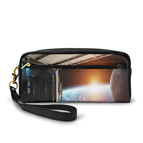 Pencil Case Pen Bag Pouch Stationary,Earth Scene from A Space Plane Runway Gate Globe Galaxy Up to Stars Picture,Small Makeup Bag Coin Purse
