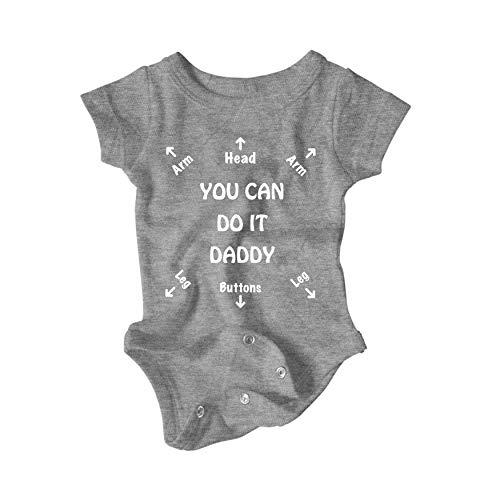Unisex Onesie You can do it Daddy Funny Baby Bodysuit (6-Months, White/Dark Grey)