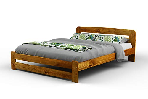 New Super King Size Solid Wooden Pine Bedframe'F1' with slats and extra four supportive legs(6ft, oak)