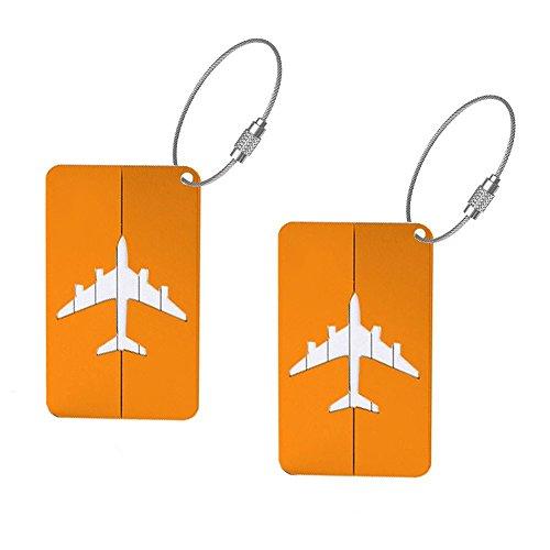 Lumanuby 2PCS bagagli tag d' imbarco fumetto creativo in lega di alluminio da appendere tag viaggio valigia bagagli etichette porta biglietti da visita ID tag, Lega di alluminio, Orange, 8*4.5cm