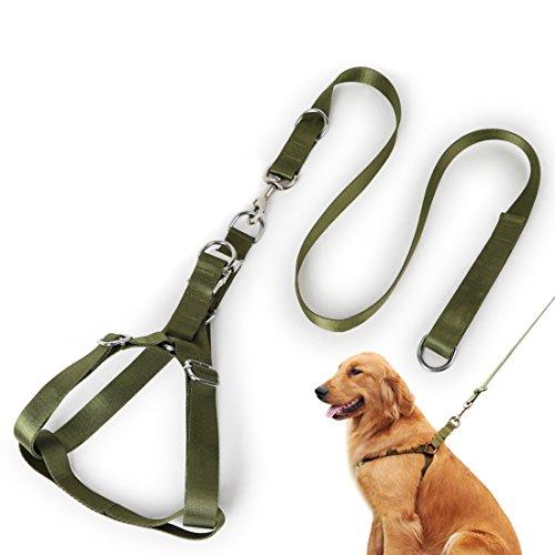Hondenharnas hondenriem set No-Pull Verstelbare Noorweger borstband Step-In borstharnas Nylon Harness veiligheidsharnas met hondengeleider Robuuste rijlijn voor middelgrote honden, M for 5kg-20kg, legergroen