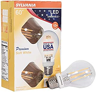SYLVANIA General Lighting, Soft White, 4 Pack 40249 Sylvania 60 Watt Equivalent, A19 LED Light Bulbs, Dimmable, Color 2700K, Made in The USA with US and Global Parts, 4-Pack