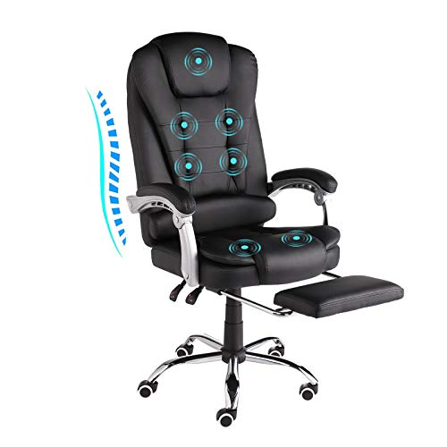 URRED Executive Office Chair with Foot Rest - Comfortable Reclining PU Leather Ergonomic Massage Office Chair Foot Rest with Wheels and Arms 90°-130° Adjustable backrest (PU-Black)