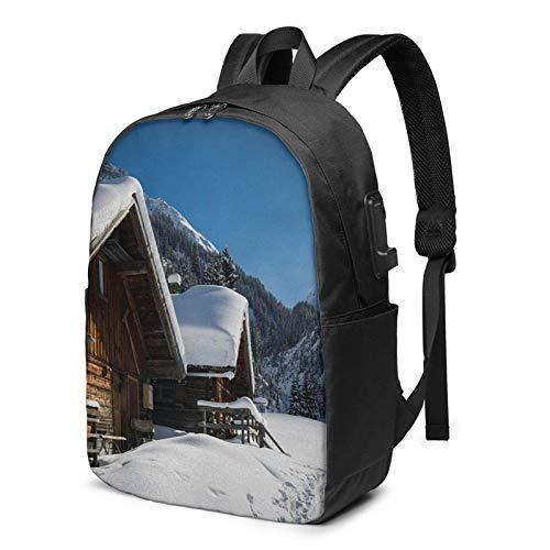 WEQDUJG Mochila Portatil 17 Pulgadas Mochila Hombre Mujer con Puerto USB, Casas Montañas Austriacas Nevado Mochila para El Laptop para Ordenador del Trabajo Viaje