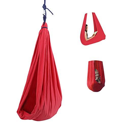 Dyna-Living Swing Hammock Hanging Chair Bed Hanging Pod for Kid Children Garden Outdoor Indoor, 165 lbs Load Capacity Red