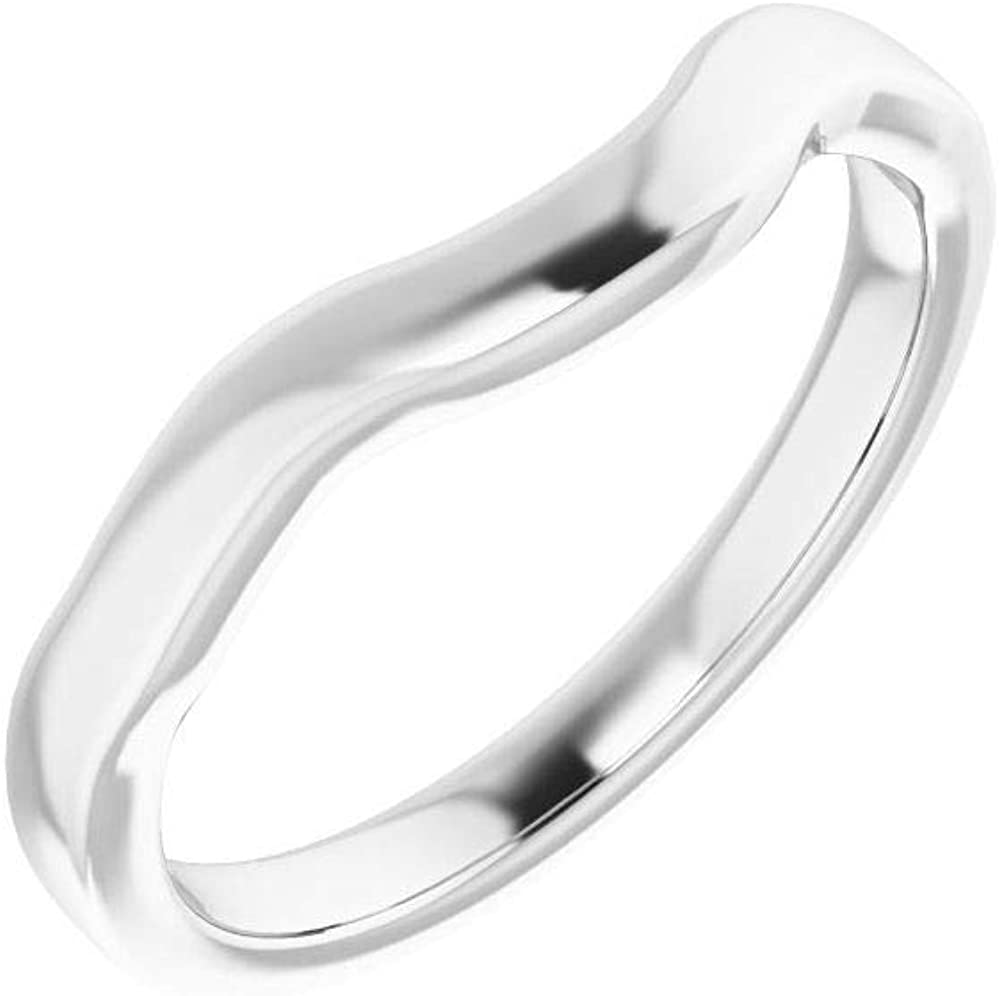 Solid 10K White Gold Over item handling Sacramento Mall Curved Notched Wedding 7mm Band Cus for x 7