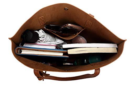 Nodykka Women Tote Bags Top Handle Satchel Handbags PU Pebbled Leather Tassel Shoulder Purse (brown-new style)