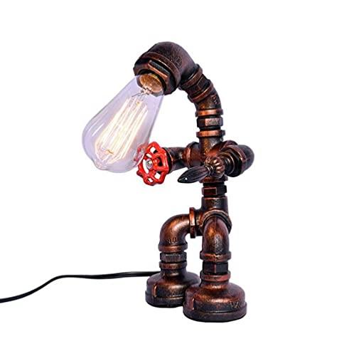 Lámpara de mesa industrial retro Personalidad creativa Lámpara de lectura nostálgica Pueblo americano Forjado E27 Steampunk Escritorio Luz Bar Café Sala de lectura Iluminación nocturna Lámpara de escr