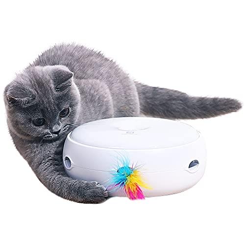 PETTOM Giocattolo per Gatto Gattino Interattivi Intelligenti, Gioco Elettronico per Gatti con Piuma 3 Modalità Sensore, Giocattolo per Allenamento Sensazione&Istinto, Batterie Incluse