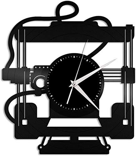 Impresora 3D Reloj de Pared de Vinilo Sala de Estar Diseño del hogar Oficina Retro Sala de Bar Decoración del hogar