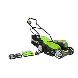 Greenworks G24X2LM36K2x Tondeuse à Gazon sans Fil sur Batterie 36 cm 2 x 24 V Lithium-ion avec Batterie 2 x 2 Ah et Double Chargeur