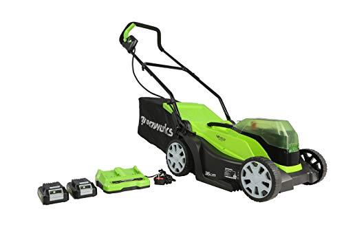 Greenworks Battery-Powered Lawnmower G24X2LM36K2x (Li-Ion 24VX2 36 cm Cutting Width up to 250m² 40 L Grass Catcher Bag 5…
