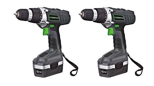 (Pack of 2) Genesis GCD18BK 18v Cordless Drill/Driver Kit, Grey