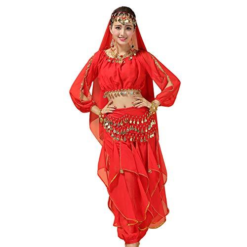 Xinvivion Mujer Danza del Vientre Disfraz, Danza India Etapa de Rendimiento Halloween Carnaval Bailando Outfit,Rojo