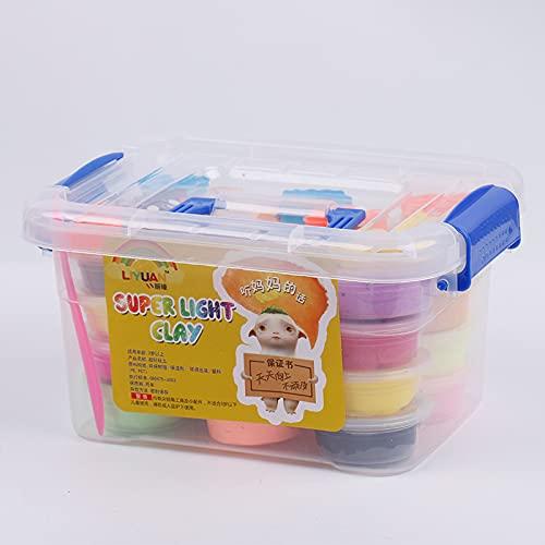 JZK Set 24 Colores Arcilla Seca al Aire, plastilina para modelar no tóxico y Ultraligero para niños Regalo de Juguetes Creativo de cumpleaños y Juego Educativo