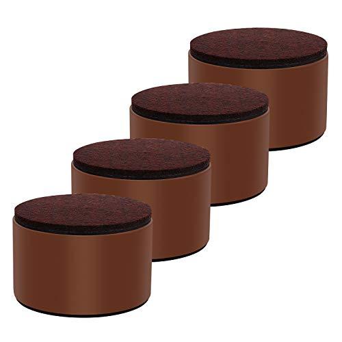 Ezprotekt Elevadores de Muebles de 5 cm, Elevadores de Cama de Acero al Carbono, Diámetro de 8 cm, Autoadhesivos, Resistentes, Añade 5 cm de Altura a las Camas y Sofás ,Redondo Marrón