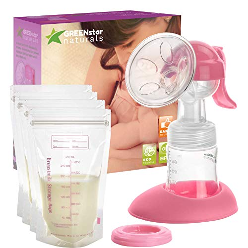 Advanced Breast Pump Set W/Bottle & Bags: Easy, Hand-Free Breastfeeding for Mom. Small, Discreet &...