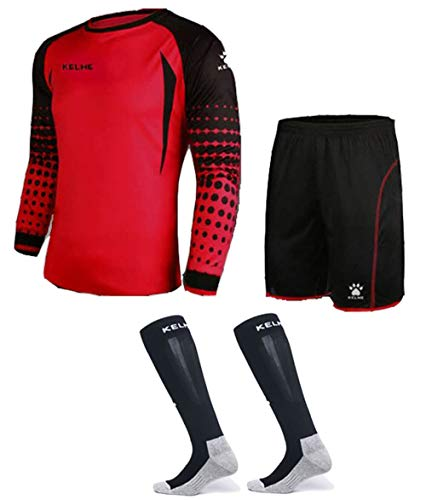 Goalkeeper Shirt Uniform Bundle - Includes Jersey, Shorts & Socks - Protection Pads on Shorts & Shirt - Kids and Adult Sizes (Red, Kids 6)