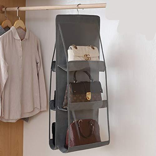 LANKOULI Kleider 6 Taschen Klappbare Hängende Handtasche Aufbewahrungshalter Organizer Taschen Rack Haken Kleiderbügel