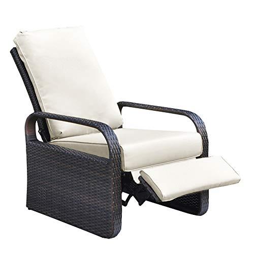 ATR Silla reclinable de mimbre de resina para exteriores con cojines