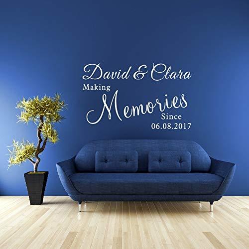 Muursticker gepersonaliseerd paar naam en datum maken herinneringen liefde citaten Stickers voor woonkamer slaapkamer 15x12 inch
