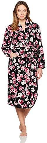 Karen Neuburger Women s Long Sleeve Shawl Collar Robe Floral Black M product image