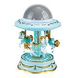 Tomaibaby Carrusel Caja de Música Enrollar Musical Caballos Giratorios Merry-Go-Round Caja de Música Proyector de Estrellas Luces Nocturnas para Niños Fiesta de Cumpleaños Regalo Azul