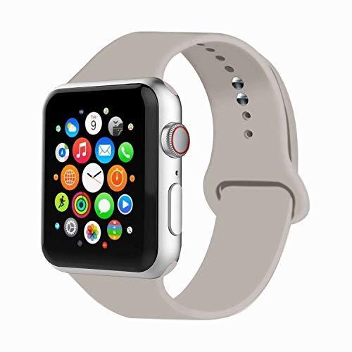 Compatibile con cinturino per Apple Watch, 38 mm, 42 mm, 40 mm, 44 mm, cinturino sportivo in morbido silicone, compatibile con la serie 2018 5/4/3/2/1, Pietra, 38MM, S/M