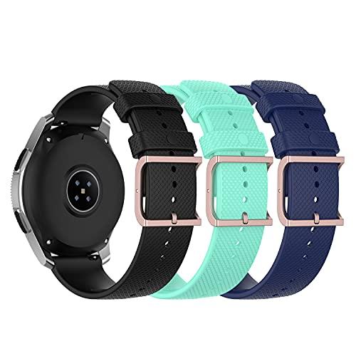 (3 unidades) Chofit Correas compatibles con Yamay ID206/Letscom ID206/LIFEBEE ID206/YONMIG ID206, correa de repuesto de grano de silicona suave para ID206 Smart Watch (negro+verde azulado+azul)