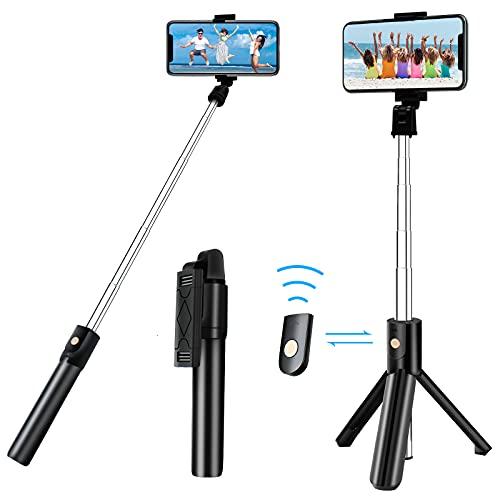 Palo selfie con disparador Bluetooth, giratorio 3 en 1, mini palo de selfie extensible, de aluminio, compatible con iPhone 12 Pro Max, 12 Mini, 11 Pro Max, Samsung S20 Plus, Note 10, etc.