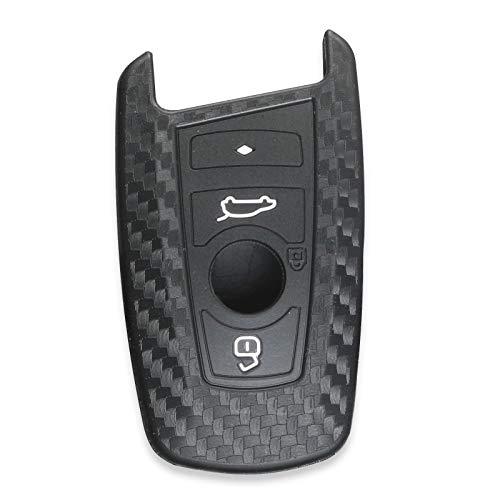 Funda de silicona para llave de coche de fibra de carbono compatible con BMW 520 525 F30 F10 F18 118i 320i 1 3 5 7 Series X3 X4 M3 M4 M5