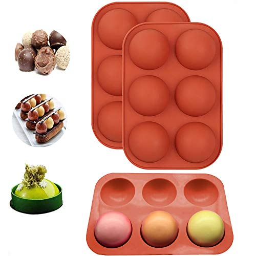 2 Pack Chocolate Silicone Mold, 6-Cavity Round Shape Silicone Baking Molds for Candy Mini Soap, Cake, Jelly, Pudding, Ice Cube Bread Cupcake and Jello