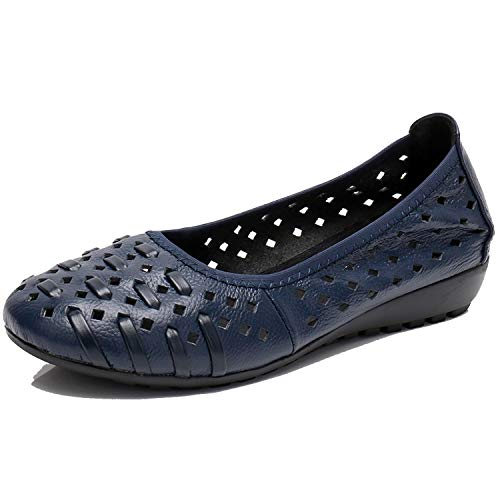 KKK-3boss-loafers Fashion Hollow Out Genuine Leather Summer Shoes Women Flat Nest Design Cover Toe Soft Breathable Boat Shoes Woman,Blue,38