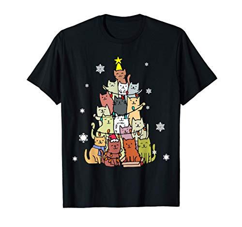 Divertente Albero Di Natale Fatto Di Gatti Natale Maglietta