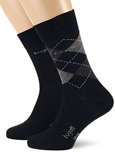 bugatti Herren 2er Pack Argyle/Uni 6776 Socken, Blau (Dark Navy 54C), 43/46 (Herstellergröße: 43-46)