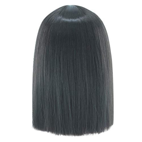 Femme Perruques Cosplay Manga Cheveux Naturels Pour Black Court éLastique Cheveux Raides Wig Sexy Mode Chic Pas Cher Postiches (Noir)