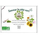 Ksaveur el lado verde - Kit listo para cultivar - Semillas de Stevia sustituto del azúcar, Nigella, Girasol, Malvavisco, Caléndula - 100% Orgánico - Jardín de Cocina - Flores y plantas medicinales