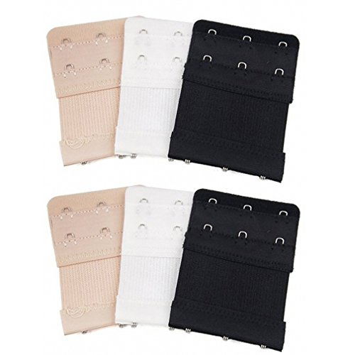 6pcs Women Ladies Soft Comfortable Back Bra 2 Rows by 3 Hooks Band Extension Strap Extender, White/Black/Khaki