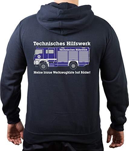FEUER1 sweatshirt met capuchon Navy, THW - GKW Mijn blauwe gereedschapskist heeft wielen!