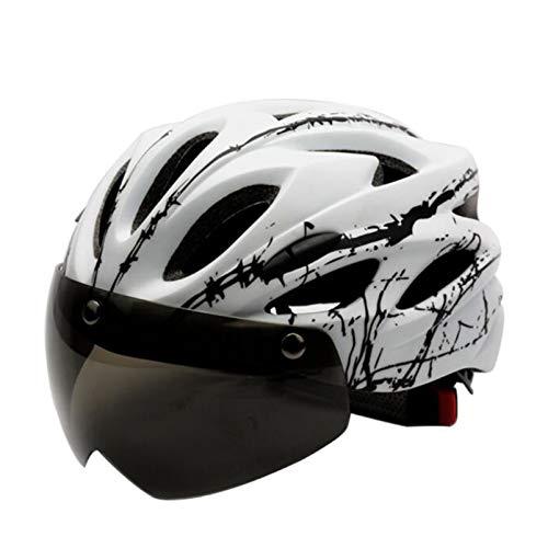 SHGK Casco de Bicicleta para Adultos Tipo magnético Deportivo con Gafas Ciclismo...