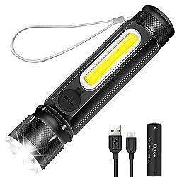 Led Taschenlampe usb aufladbar taschlamp mit Magnetischer Fuß Euyee klein Lampe mit COB wasserdicht akku 18650