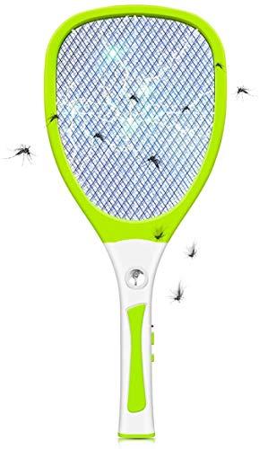 JOLVVN Elektrische Fliegenklatsche,Fliegenfänger Moskito Zapper Insektenvernichter mit LED-Beleuchtung USB wiederaufladbare Fly Bug Zapper Racket Mosquito Killer, 3000 Volt Schädlingsbekämpfung