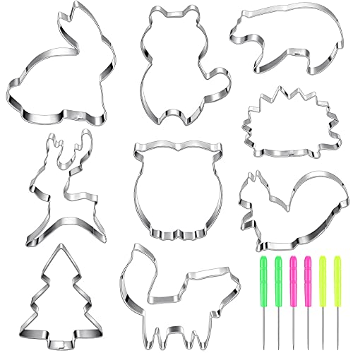 15 Pieces Woodland Cookie Cutter Set Stainless Steel Fondant Biscuit Cutters with, Owl, Deer, Raccoon, Hedgehog, Rabbit, Bear, Squirrel, Forest Animal Cookie Cutters Molds and Sugar Stirring Pin
